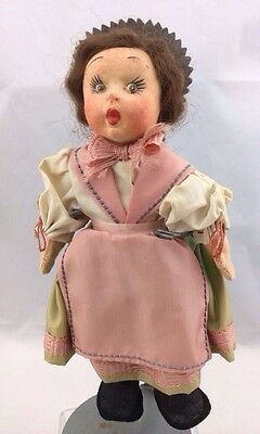 Gorgeous Antique Cloth Doll Labeled Made in Italy Lenci Style Miniature Princess