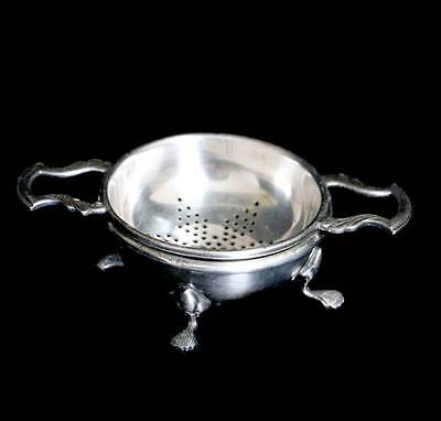 Vintage Strachan EPNS silver plated tea strainer and rest