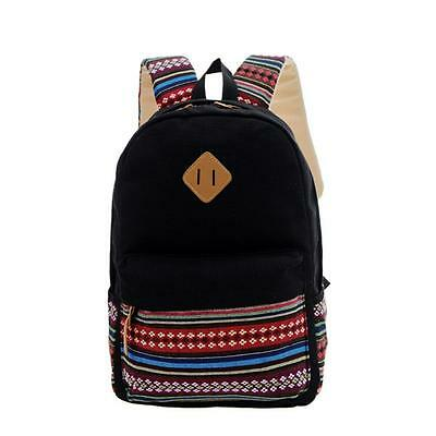 Women Casual Backpack Girls School Canvas Shoulder Travel Bags Rucksack Black AD
