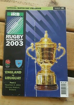 2003 rugby world cup programme - England v Uruguay
