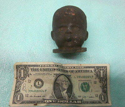 """Super Creepy Vintage Industrial Copper Doll Head Mold Steampunk Altered Art """"A"""""""