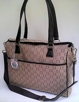 NEW Oroton Signature O Nappy Diaper Baby Bag Tote Handbag Brown Leather RRP$495