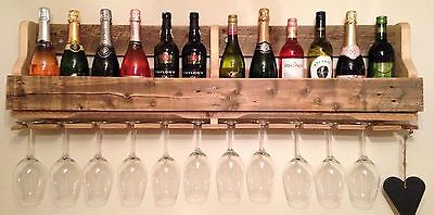 Wooden Wall Mounted Wine Rack/Glass Holder Various Sizes
