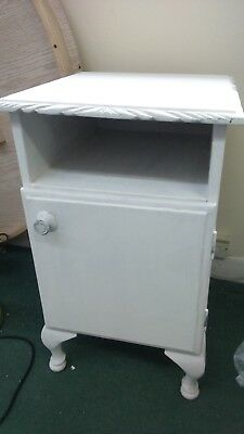 Shabby chic wooden bedside cabinet with cabriole legs