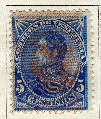 VENEZUELA;  1893 early classic Optd. issue Foreign 5c. Mint hinged value