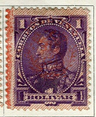 VENEZUELA;  1893 early classic Optd. issue Foreign 1B. Mint hinged value