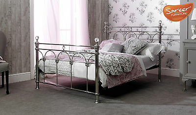 Sareer Sonita Silver Chrome Finial Metal Bed 5Ft Kingsize Free Delivery