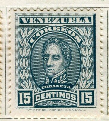 VENEZUELA;  1911 early Portraits issue Mint hinged 15c. value