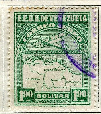 VENEZUELA;  1930 early AIR issue fine used 1.90B. value