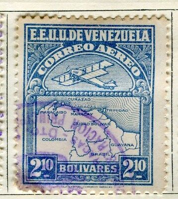 VENEZUELA;  1930 early AIR issue fine used 2.1B. value