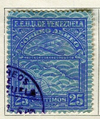 VENEZUELA;  1932 early AIR issue fine used 25c. value