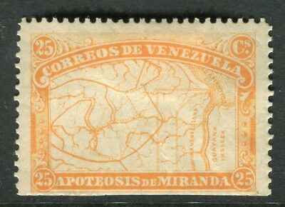 VENEZUELA;  1896 early Map issue Mint unused 25c. value