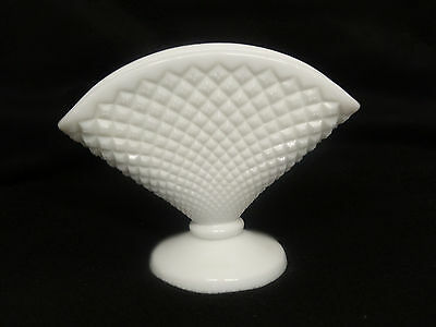 Vintage Milk Glass Studded Footed  Vase aa