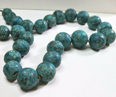 Heavy Vintage Tibetan Real Turquoise Mosaic Bead Necklace - Knotted - 21 inches