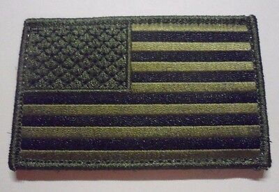 American Flag Subdued Green & Black Uniform Removable Patch Unused