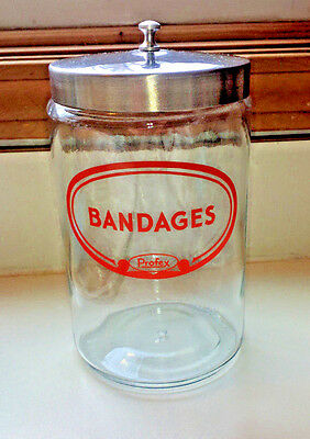 Vintage PROFEX   Bandages Apothecary Doctors Medical Glass Jar, Doctors Office
