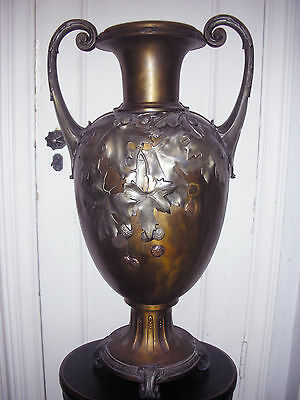 ANTIQUE 19th CENTURY LG SCALE  GERMAN KAYSER METAL ART NOUVEAU VASE /GREEK URN