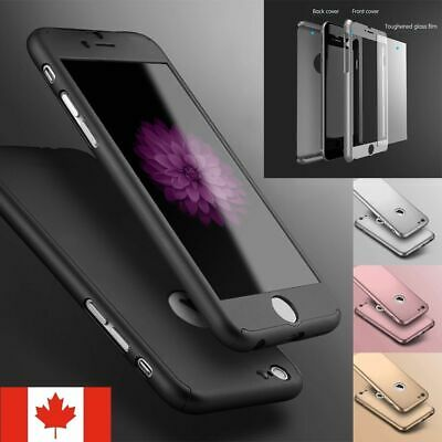 Thin Hard 360 Case Cover + Tempered Glass Screen Protector For iPhone All Models