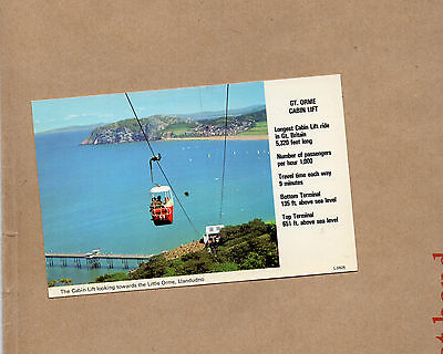 Wales Llandudno Great orme cabin lift dennis card 1970's unposted a01