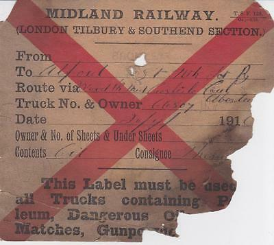 Midland Railway LONDON TILBURY & SOUTHEND SECTION Wagon Label STAMPED BROMLEY