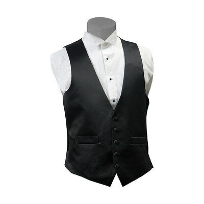 Mens 100% Wool Black Tuxedo Vest 5 Button Lined Satin Back New