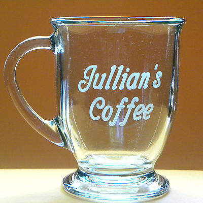Personalized Coffee Tea Soup Mug Lrg 16oz Engraved Glass Office, Birthday Gift