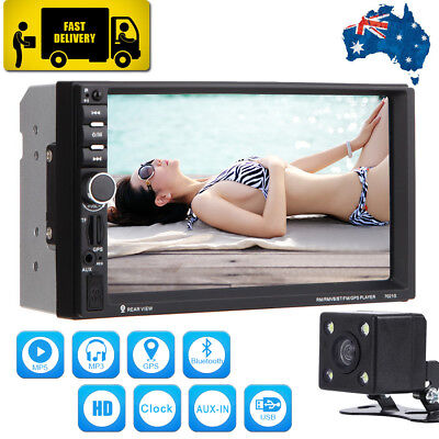 "7"" HD Car Stereo Touch MP3 MP5 Player Double 2 DIN Bluetooth Radio GPS + Camera"
