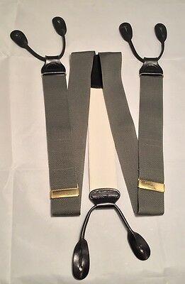 Trafalgar Men's Gray and White Suspenders / Braces.  Made in England.