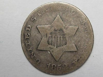 1852 US Silver Three Cent Coins. 3 Cents. 3c.  #21