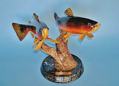 Pair of Hand-Carved Hand-Painted Full Mount RAINBOW TROUTS by Dr. Gill Sanders