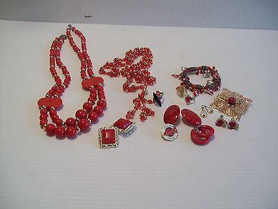 Ladies Red Hat Jewelry Lot