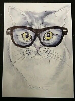 "Original Animal Art - Cat ACEO 2.5"" x 3.5"" - Realism - S. White Drawing Kitty"