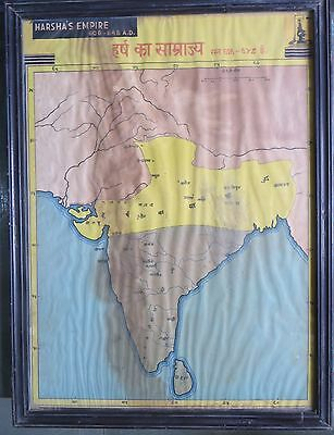 Rarts WOODEN FRAMED HARSHA'S EMPIRE 606-648 AD  LITHO art PRINT HISTORICAL MAP