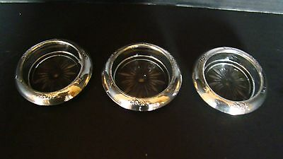 Estate Set Of Three Frank M. Whiting & Co. Glass Coasters Sterling Silver Rims