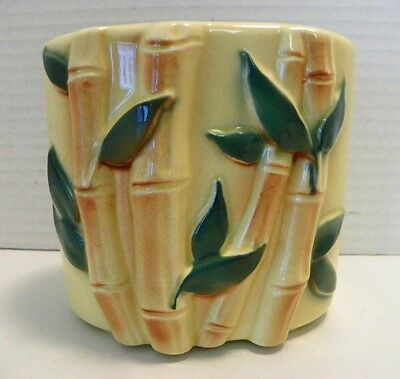 Vintage Pottery Vase Raised Bamboo & Leaf Pattern, Estate Find, Yellow, Vcg