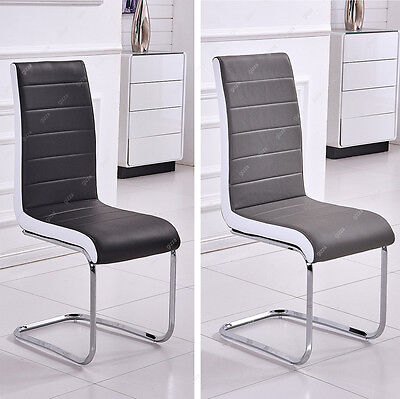 Stylish Faux Leather Dining Chairs High Back Rest Chrome Black/Grey White Sides