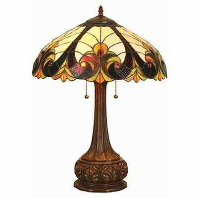 Tiffany-style Victorian Bronze Base Table Lamp Vintage Handcrafted Home Decor