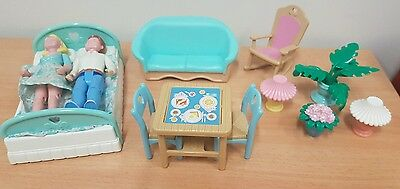 Vintage Fisher Price Loving Family Dolls Figurines And Furniture