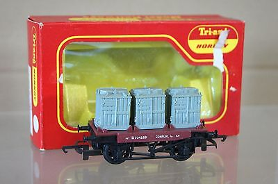 TRIANG HORNBY R340 BR CONFLAT LASTER mit 3 CONTAINER BELASTUNG B734259 MIB ni
