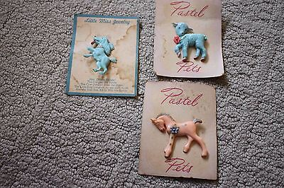 3 Vintage Children's, Girl's Pins on Cards, Never Used, Lamb, Dog, Pony, Horse