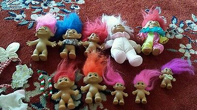 set of 10 vintage russ trolls troll and clothes
