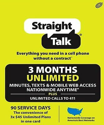 $130 Straight Talk Unlimited Service PREPAID 90 DAY PLAN