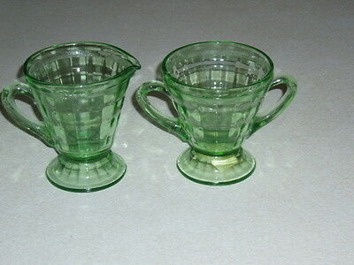 Green Depression Colonial Fluted Rope Federal Creamer & Sugar W/ Lid Mint!!