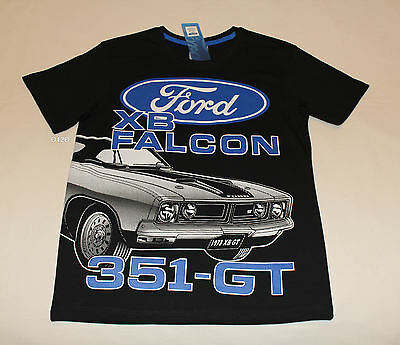 Ford XB Falcon 351 GT Boys Black Printed Cotton Short Sleeve T Shirt Size 8 New
