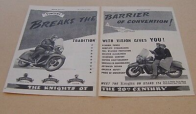 Vincent Black Knight motor cycle original magazine advert from / dated 1954