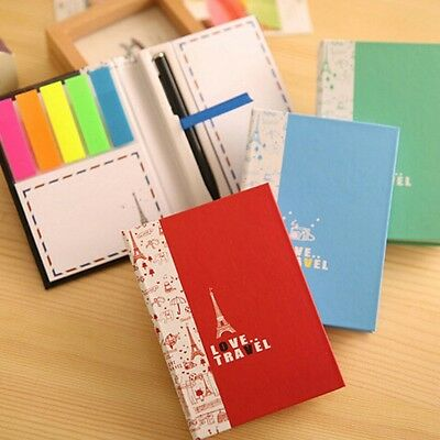 Diary Notebook + Ballpoint Pen Sticky Notes Memo Stationery For School Students