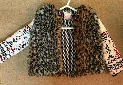 Mamas and papas faux fur jacket with knitted sleeves 18-24 months gorgeous