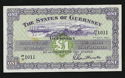 1966  Guernsey £1 Banknote- Condition Guide  G/ef
