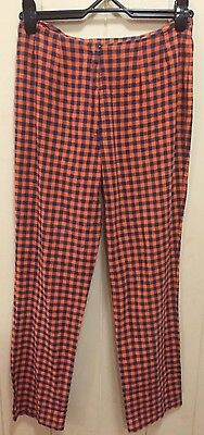 1960s High Waisted Navy And Orange Gingham Pants