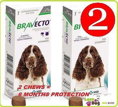 Bravecto for Med Dogs 10-20kg 2 Chews/Flea/Tick Treatment = 6mths treatment